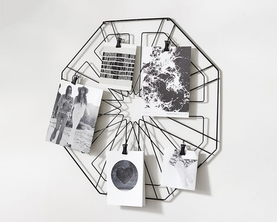 Octagonal photo holder wall grid thumb