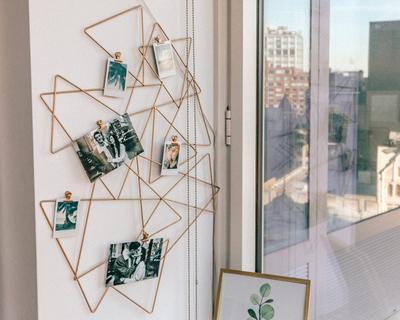 Abstract photo holder wall grid thumb