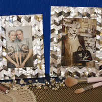 Mother of pearl black ivory frame for photo size 4 x6 small