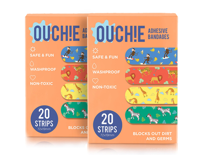 Non toxic printed bandages combo set of 2 orange thumb