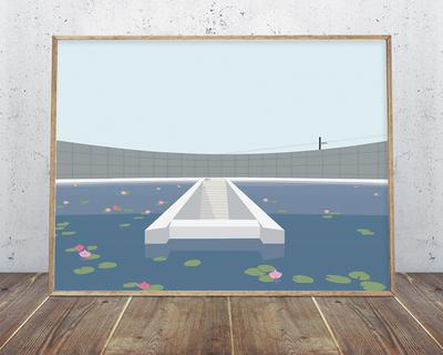 Water temple tadao ando wall art thumb