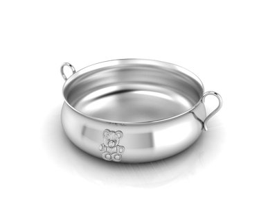 Silver plated bowl for baby child teddy embossed feeding porringer thumb