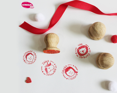 Personalised wooden face stamp with stamp pad boys characters thumb