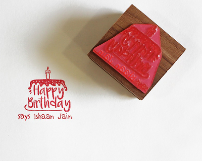Personalised wooden text stamp with stamp pad happy birthday 2 thumb