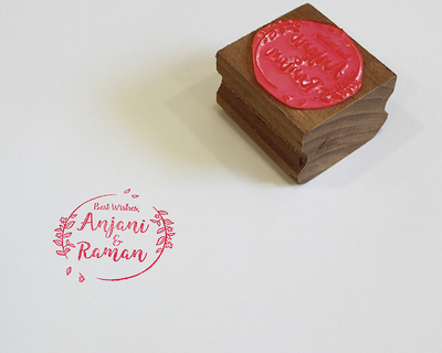 Personalised wooden text stamp with stamp pad names 1 thumb