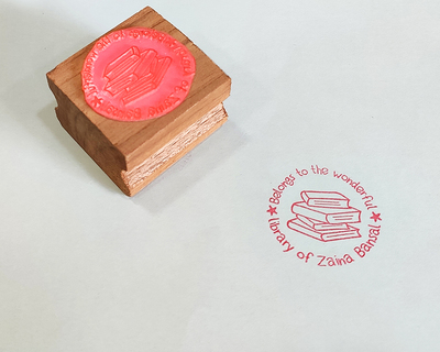 Personalised wooden text stamp with stamp pad library 1 thumb