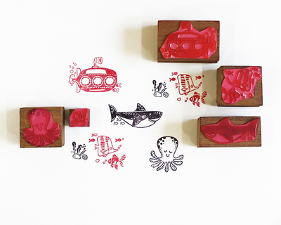 Wooden stamp a scene five stamps set under the sea thumb