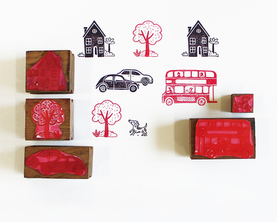 Wooden stamp a scene five stamps set on the street thumb