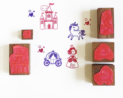 Wooden stamp a scene five stamps set fairytale of a princess thumb