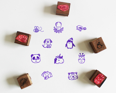 Wooden craft icon stamps ten stamps set with stamp pad animals 1 thumb