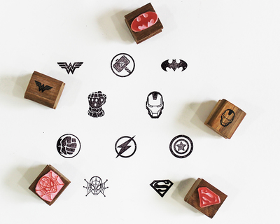 Wooden craft icon stamps ten stamps set with stamp pad superheroes thumb