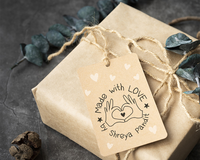 Personalised wooden text stamp with stamp pad made with love 2 thumb