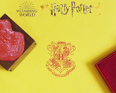 Official harry potter wooden text stamp with stamp pad hogwarts thumb
