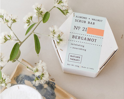 Almond walnut scrub soap bergamot thumb