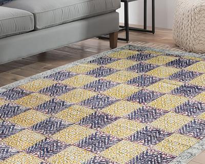 Handmade 4x6 ft jaipur 100 cotton block printed area rug 1121 rug 508 thumb