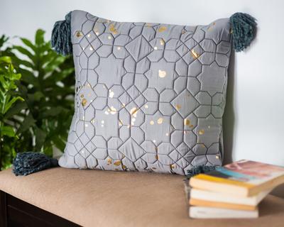 Navroz grey gold foil cushion cover thumb