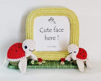 Crochet watermelon turtle frame thumb