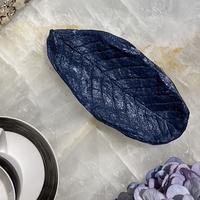 Handmade big leaf art decorative cotton mache blue small