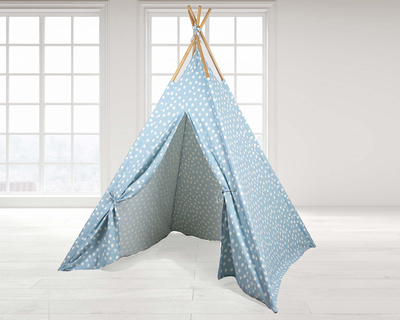Teepee tent blue base white dots thumb