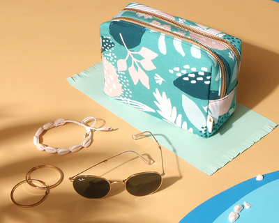 Turquoise floral double zip travel pouch thumb