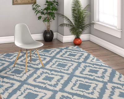 Hand tufted tuscany traditional area rug 5 x 8 water blue for living drawing bedroom thumb