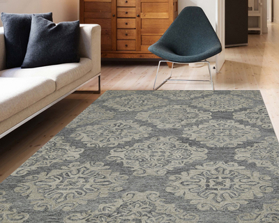 Hand tufted modern area rug 5 x8 jelly bean for living drawing bedroom thumb
