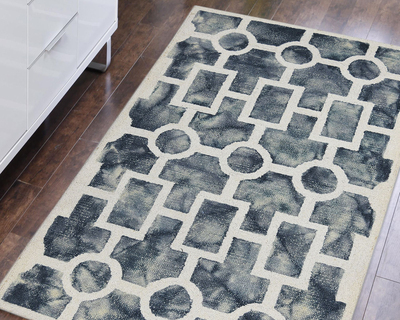 Hand tufted modern area rug 4 x 6 grey white for living drawing bedroom thumb