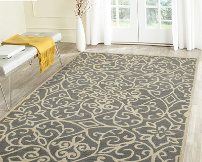 Hand tufted area rug 4 x 6 white ivory thumb