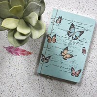 Blue pastel floral notebook small