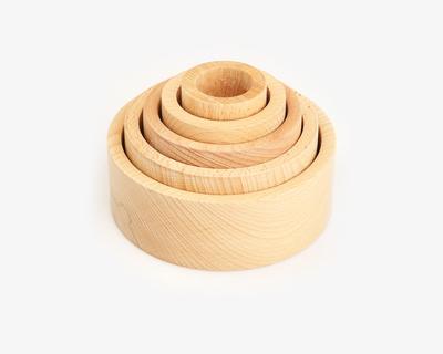 Wooden nesting bowls natural thumb