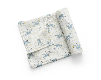 Monkeys on bamboo swaddle blue fog thumb