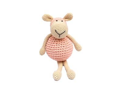 Amigurumi soft toy handmade crochet sheep light pink thumb
