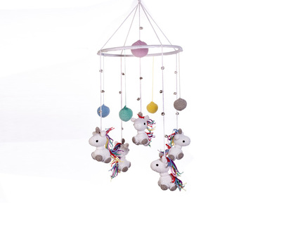 Magical unicorn crochet wind chimes for home multicolour thumb