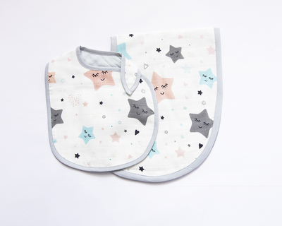 Twinkly stars reversible bib burpy cloth set of 2 thumb
