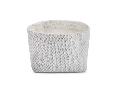 Organic cotton baby basket chunky knitted white thumb