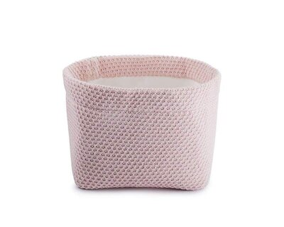 Organic cotton baby basket close knitted pink thumb
