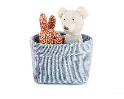 Organic cotton baby basket wiggly knitted blue thumb