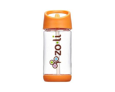 Zoli squeak straw water bottle orange thumb