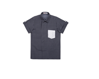 Blue polka dot boys shirt thumb