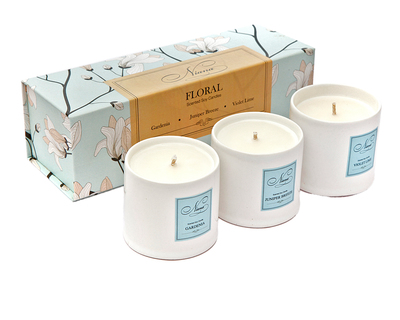 Floral collection set of 3 soy candles thumb