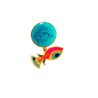 Fish charm ring small