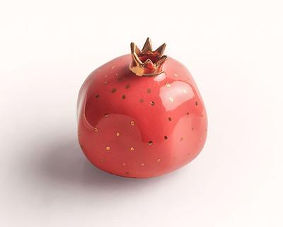 Pomegranate decor sculpture red thumb