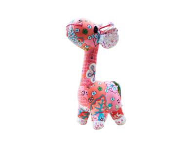 Pink lagoom giraffe fabric plush toy thumb