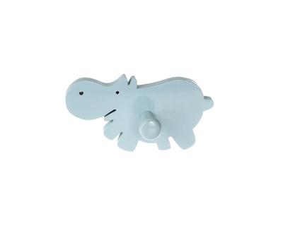 Happy hippo blue single wall hook thumb