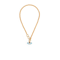 Evil eye toggle neck chain gold small