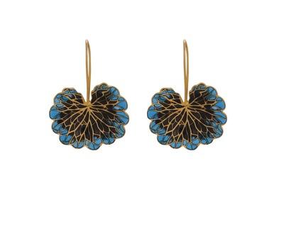 Leaf earrings cobalt black thumb