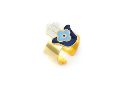 Hamsa hand adjustable ring gold thumb