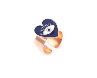 Heart eye adjustable ring blue rose gold thumb