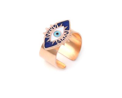 Evil eye adjustable ring rose gold thumb