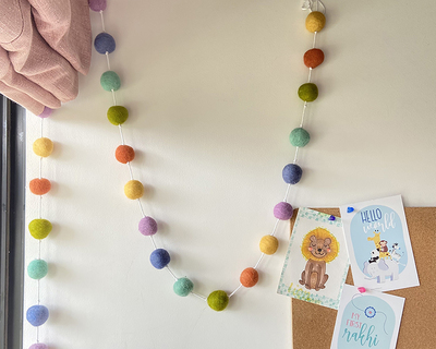 Pastel rainbow felt ball garland thumb